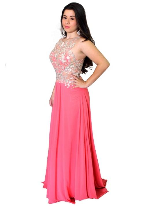 Vestido de festa rosa, vermelho curto